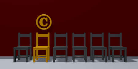 copyright symbol and row of chairs - 3d rendering Stock Photo