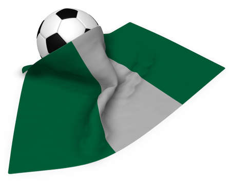 country nigeria: soccer ball and flag of nigeria - 3d rendering