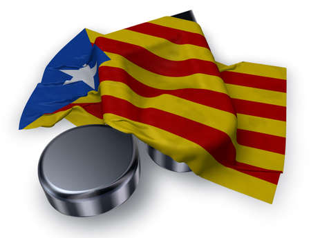 music note symbol symbol and flag of catalonia - 3d rendering Stock Photo