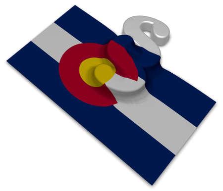 colorado flag and paragraph symbol - 3d illustration