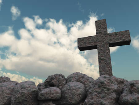 stone cross under cloudy sky - 3d illustration