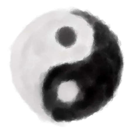 painted yin yang symbol on white background Stock Photo