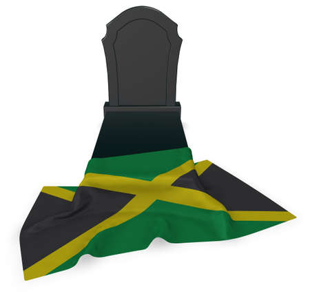 grave stone: gravestone and flag of jamaica - 3d rendering