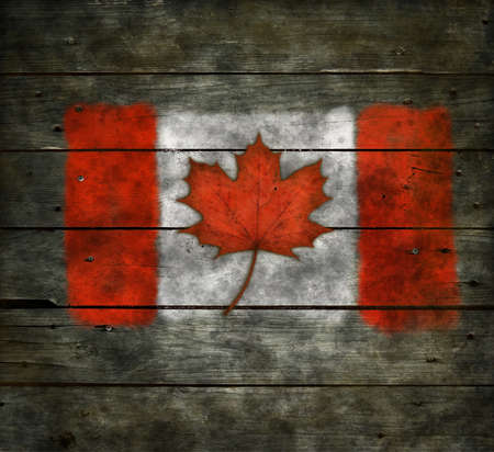 flag of canada with real maple leaf on wooden background