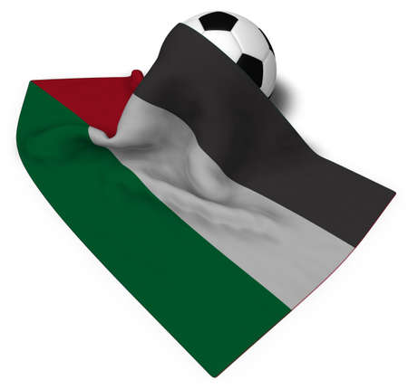 soccer ball and flag of palestine - 3d rendering