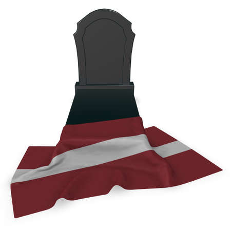 gravestone and flag of latvia - 3d rendering Stock Photo
