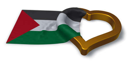 flag of palestine and heart symbol - 3d rendering Imagens