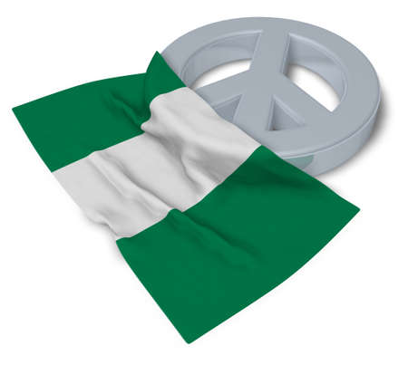 country nigeria: peace symbol and flag of nigeria - 3d rendering Stock Photo