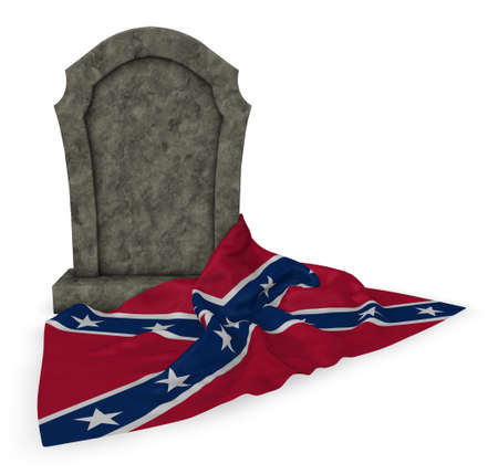 gravestone and flag of the Confederate States of America - 3d rendering