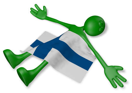 dead cartoon guy and flag of finland - 3d illustration