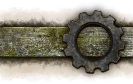 gear wheel on old wooden plank