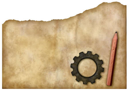 gear wheel and pen on grunge paper background - 3d rendering and photo composing Stock Photo