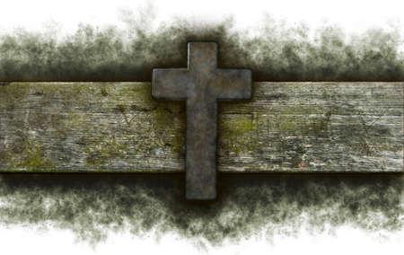 christian cross on old wooden plank Stock Photo