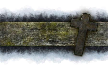 christian cross on old wooden plank - 3d illustration