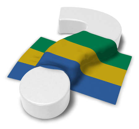 question mark and flag of gabon - 3d illustration