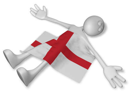 dead cartoon guy and flag of england - 3d illustration