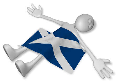 dead cartoon guy and flag of scotland - 3d illustration