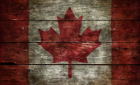 flag of canada on wooden background Stock Photo