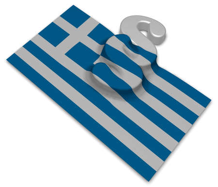 paragraph symbol and greek flag - 3d rendering Stock Photo