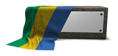stone socket with blank sign and flag of gabon - 3d rendering