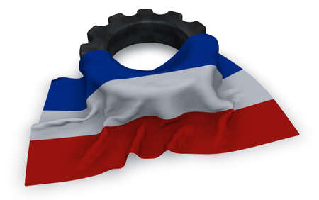 gear wheel and flag of schleswig-holstein - 3d rendering