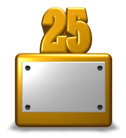 number twenty five on socket - 3d rendering