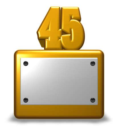 number forty-five on socket - 3d rendering
