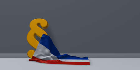 holstein: paragraph symbol and flag of schleswig-holstein - 3d rendering