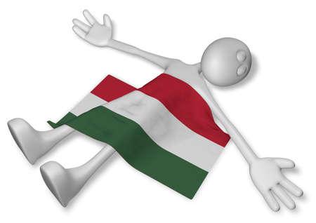 dead cartoon guy and flag of hungary - 3d illustration