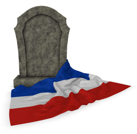 gravestone and flag of schleswig-holstein - 3d rendering Stock Photo