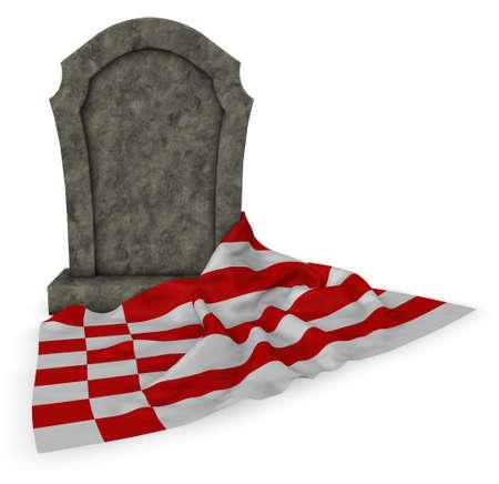 Gravestone and flag of Bremen - 3d rendering Stock Photo