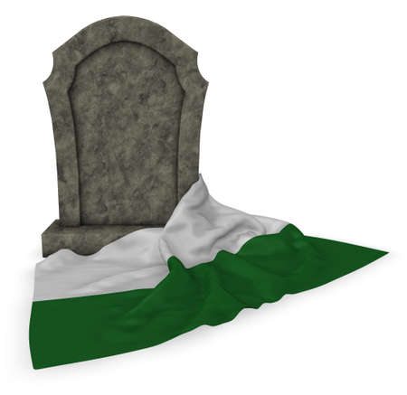 Gravestone and flag of Saxony - 3d rendering