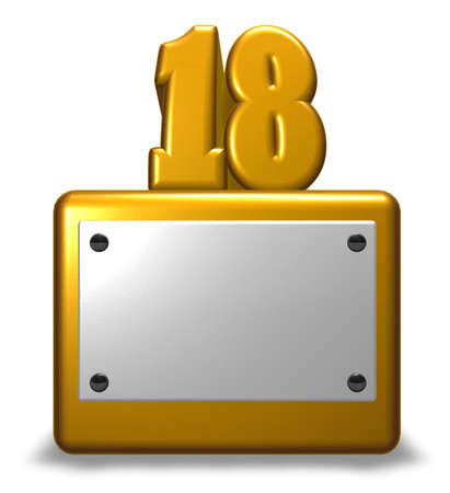 Number eighteen on socket - 3d rendering