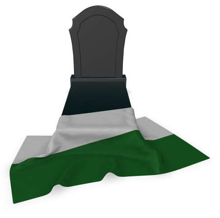 gravestone and flag of saxony - 3d rendering Stock Photo