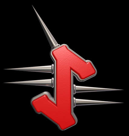 rune symbol with spikes on black background - 3d illustration Stock Photo