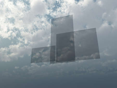 three window panes float in the sky - 3d illustration