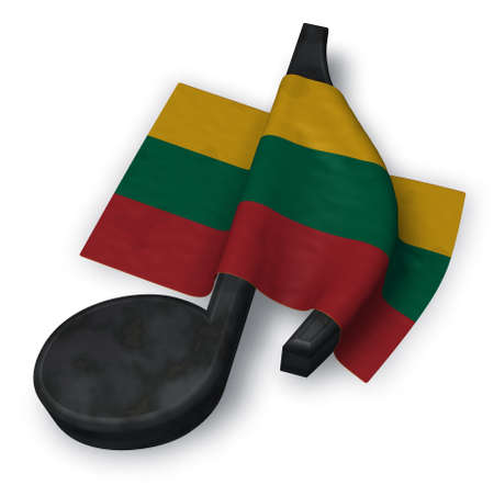 music note symbol and flag of lithuania - 3d rendering Stock Photo