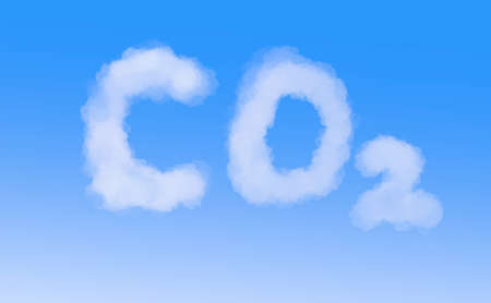 illustration of cloudy co2 tag on blue background Stock Photo