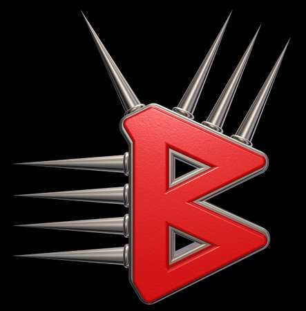 Rune symbol with spikes on black background - 3d illustration