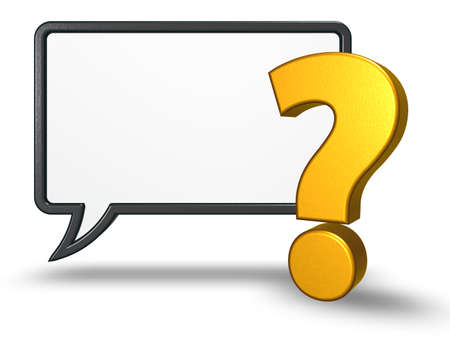 speech bubble and question mark on white background - 3d rendering