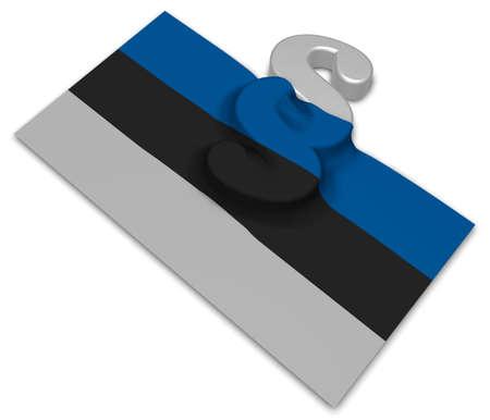 paragraph symbol and flag of estonia - 3d rendering Stock Photo