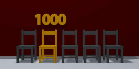 number One Thousand and row of chairs - 3d rendering Фото со стока