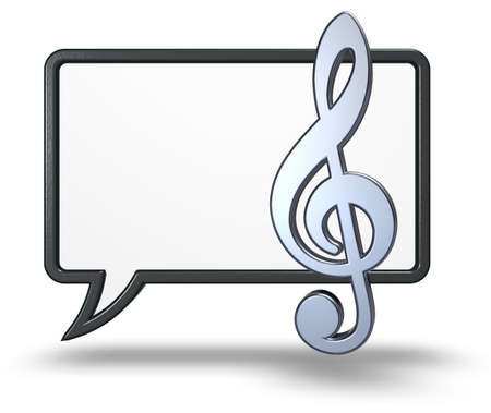 speech bubble and clef symbol on white background - 3d rendering