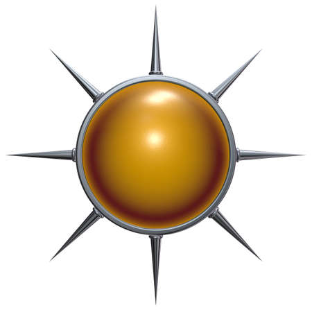 sphere and ring with spikes on white background - 3d rendering