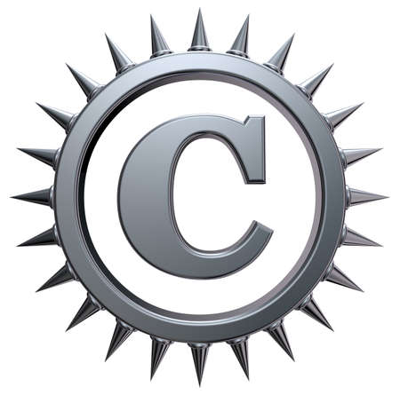 copyright symbol with spikes on white background - 3d rendering Stock Photo