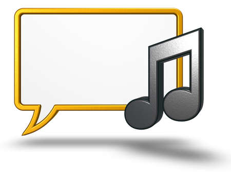 Music note symbol and speech bubble - 3d rendering