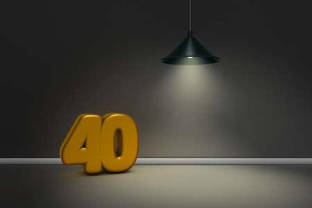 number forty under a lamp - 3d rendering Stock Photo