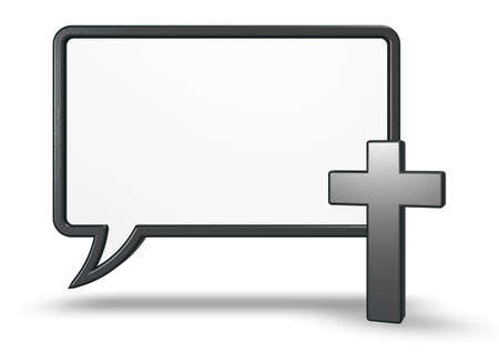 christian cross and speech bubble on white background - 3d rendering 版權商用圖片