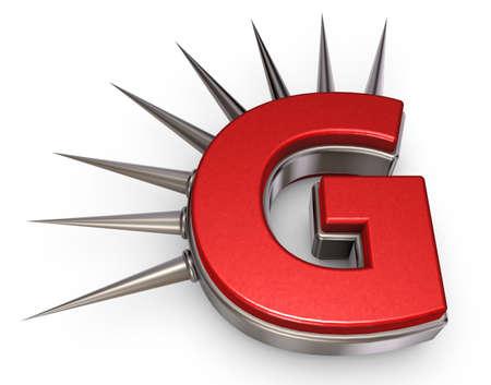 Buchstabe g mit Metallstacheln auf weißem Hintergrund - Abbildung 3d Standard-Bild - 91421002