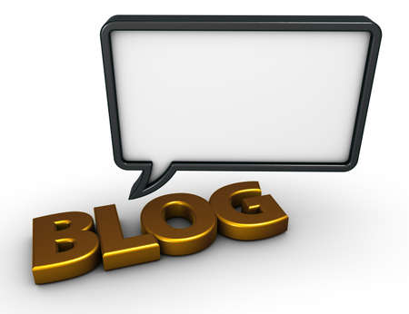 the word blog and speech bubble on white background - 3d rendering Stock Photo